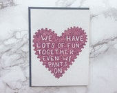 Eco Friendly Card. Dirty Card. Funny Anniversary Card. Sexy Card. Adult Valentines Day Card.
