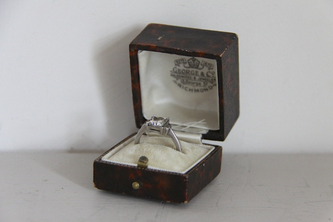 antique ring box leather engagement wedding ring box brown and
