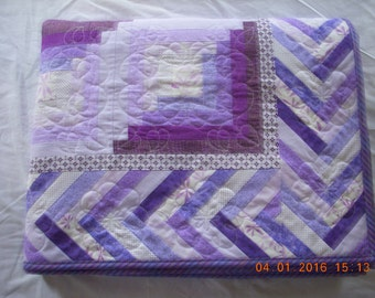 Handmade Twin Size Quilt in Purples Log Cabin Design
