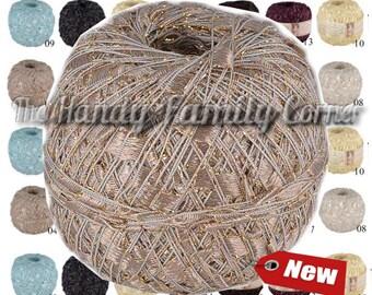 Luxurious yarn Luxor. Ribbon ladder trim yarn Viscose and lurex shining Summer yarn. Metalic thread Sparkle Trellis yarn. Color Choice DSH