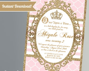 Princess Birthday Party Invitations - Pink and Gold Glitter - Princess Birthday Party- Printable Instant Download