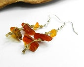 Long linen earrings with baltic amber. Raw jewellery. Dangle natural earrings. Sterling silver hooks