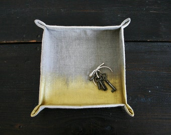 Soft Sculpture Catch All Tray in Wool And Gold Hand Painted Linen