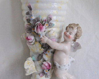 Antique Victorian German Porcelain Cherub Wall Pocket
