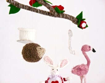 Baby Mobile, Alice in Wonderland Mobile, Alice in Wonderland Nursery, Knit Animal Mobile, White Rabbit, Story Mobile, Crib Mobile,
