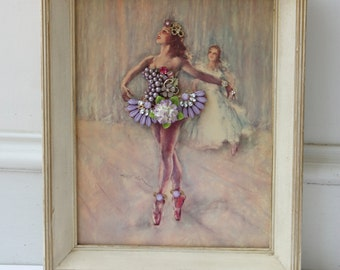 Framed Jewelry Collage Vintage Ballerina Rhinestone Wall Art Ballet Nursery Antique Pal Fried Lithograph Assemblage Girl Baby Jeweled OOAK