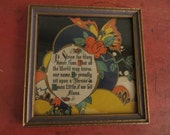 Viintage Print Motto framed / ART DECO / gift message on back / 4.5 x 4.5""