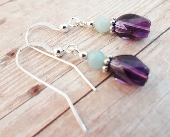 Dainty Amethyst and Amazonite Earrings