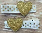 Gold Glitter Hearts Hair Clips Clippies - Set of 2 - Babies Toddlers Girls