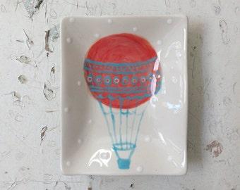 "Ceramic Hot Air Balloon ""Adventure Awaits"" Rectangle Wavy Dish"