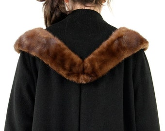 60s Swing Coat, Black Alpaca Wool Mink Fur Collar Minimalist Glamour Bombshell Pin Up Rockabilly Overcoat Formal Evening Jacket