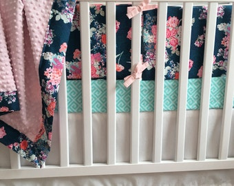 Crib Bumper Pads - Nisi Flora in Oceanon withLight Pink Piping and Ties || Aqua, Coral, Fuchsia Navy Floral Skopelos Collection