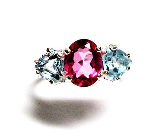 "Pink topaz ring, topaz accent ring, 3 stone ring, blue pink,  wedding anniversary ring s 6 3/4  ""Ice Castles"""