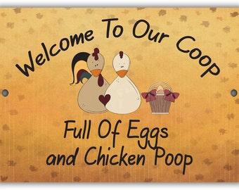 Eggs and Chicken Poop Indoor/Outdoor Aluminum No Rust No Fade Sign