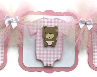 Diaper shirt baby shower banner, teddy bear baby shower banner, teddy bear decor, diaper shirt decor, it's a girl banner, pink decorations