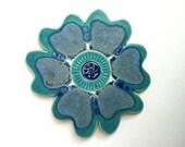 Blue poppy ceramic stoneware wall plaque