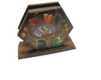 Hand Painted Napkin Letter Holder Wood