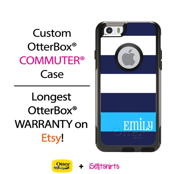 iPhone OtterBox Commuter Case for iPhone 6/6s, 6 Plus/6s Plus, 5/5s, 5c, 4/4s, Galaxy S6 S5 S4 Note 5 4 Personalized Navy Wide Stripes Case