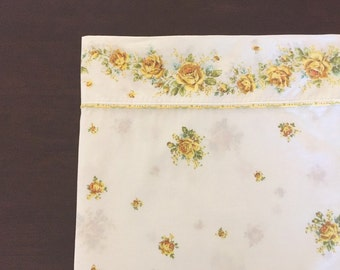 Retro Twin Flat Sheet, Yellow Roses with Orange and Blue Accents, Wondercale by Springmaid