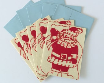 Red Flocked Santa Christmas Cards and Envelopes, Vintage Set of Five (5)