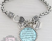 Mother of the Groom Gift, Personalized Wedding Bracelet, Message, My Heart is so Grateful, Wedding Date Jewelry-Gift for Mother of Groom