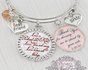 Bride Gift from Bridesmaid Maid of Honor - Personalized BANGLE Bracelet - Gift for Bride - Thank You Wedding Gifts - Wedding Keepsake