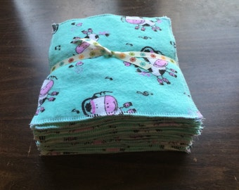 Cloth baby wipes set of 24 made with 2 layers 100% cotton flannel adorable cow pattern