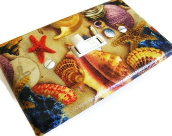 SEASHELLS Light Switch Cover Plate Switchplate Beach Decor