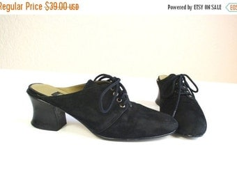 vtg 90s black suede GOTH Lace Up WITCHY HEELS grunge 5.5 shoes Victorian