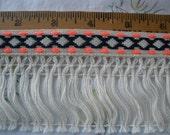 "Hippy Boho Tribal Ribbon Fringe trim 2"" wide cotton blend fringe 3/4"" neon pink black pattern ribbon retro yards yardage crafts costume"