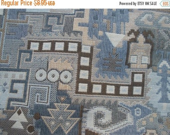 "Desert Life Tapestry fabric remnants 27""L x 23""W Taupe Blue brown upholstery fabric home decor market bag pillows purse 2 pieces"