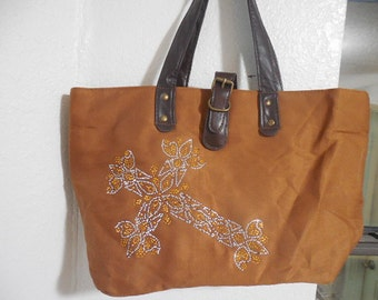 Handbag/tote midsize with rhinestone cross