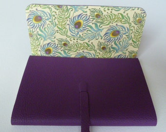 Leather Sketchbook Leather Journal Travel Journal. Purple Leather Lined with a Decorative Peacock Design Paper with Gold Highlights.