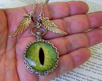 Dragon Eye Pendant (N626) Necklace, Hand Painted Green Sparkle and Gold Streaks Glass Eye, Silver Wings, Silver Chain with Clasp