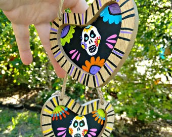 Wood and Chalkboard Sugar Skull Ornaments