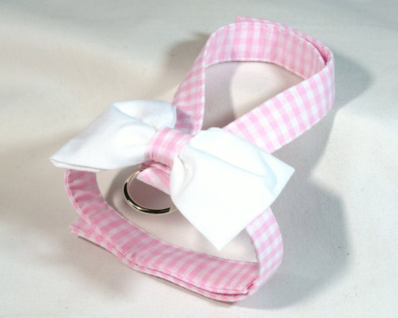 Small dog harness, velcro close Pink Gingham 2