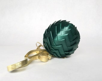 Green Ribbon Pinecone Ornament