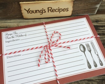 Set of 20 Rustic Country Chic 4 x 6 Recipe Cards