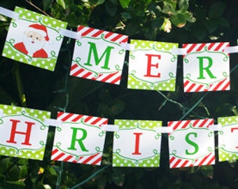 Merry Christmas Banner Printable - Christmas is Here Collection