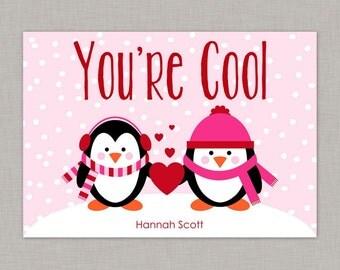 Penguin Valentine Card, Classroom Valentines, Classroom Valentine's Day Card, Kids Valentine Cards, Kids Valentines