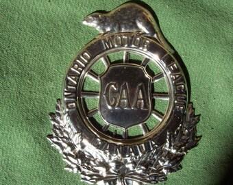 Ontario Motor League, CAA beaver badge, CAA  metal car emblem, Canadian Automobile Association
