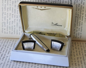 Anson Sterling Silver Cufflinks and Tie Clip Vintage FREE DOMESTIC SHIPPING