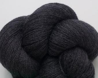 Dark Gray Recycled Merino Lace Weight Yarn Charcoal Gray Merino, MER00086