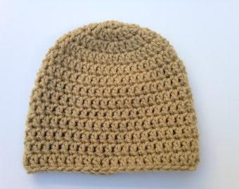Baby Hat Beanie Tan Crochet 3 - 6 Months
