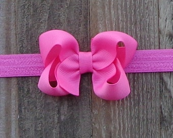 Baby Headband~Hair Bow on Headband~Hot Pink Hair Bow~Hair Bows for Baby~Newborn Headband~Boutique Hair Bow~Hair Bows~Baby Headband~Hair Bows