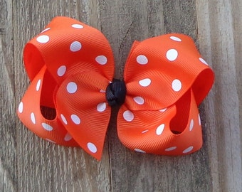 Orange Polka Dot Hair Bow~Halloween Boutique Bow~Simple Hair Bow~Basic Hair Bow~Large Orange Hair Bow~Large Boutique Bow~Fall Boutique Bow