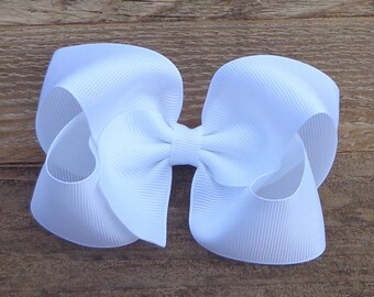 Hair Bows for Girls~WHITE Hair Bow~Girls Hair Accessories~Toddler Hair Bow~Medium/Large Hair Bow~Hairbows for Baby~Easter Hair Bow~Hairbows