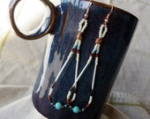 Chocolate and Turquoise Seed Bead Porcupine Quill Earrings - Native Made