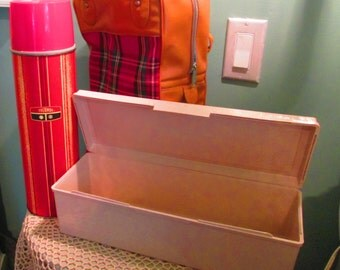 60s Lunch Box And Thermos Set In Carrying Case / Vintage Picnic Set / Camping