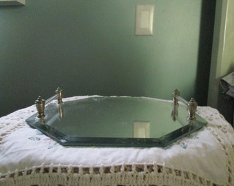 Vintage Mirror Vanity Perfume Bottle Tray / Hexagon Miirror Tray Dresser